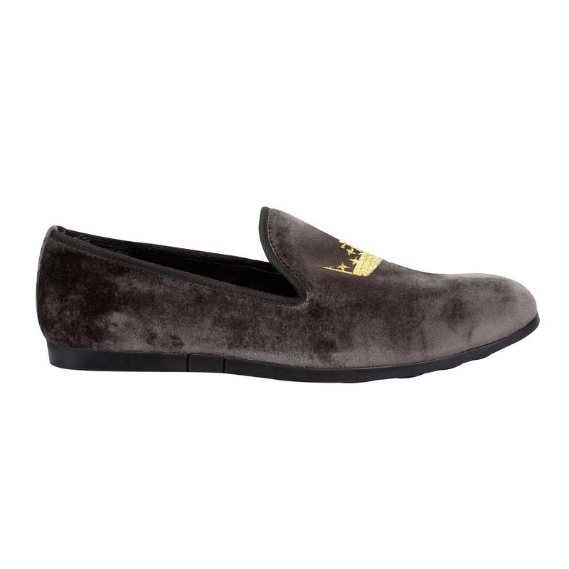 Dark Grey Velvet/Golden Crown Embroidery Slip-On Shoes By Bareskin