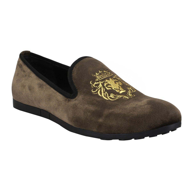 Brown New Flat Sole Lion King Embroidery Velvet Slip-On Shoes By Bareskin