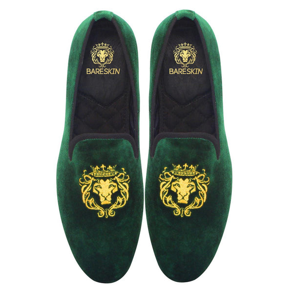Green Lion King Embroidery Velvet Slip-On Shoes By Bareskin