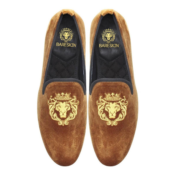 Tan Color New Flat Sole Lion King Embroidery Velvet Slip-On Shoes By Bareskin