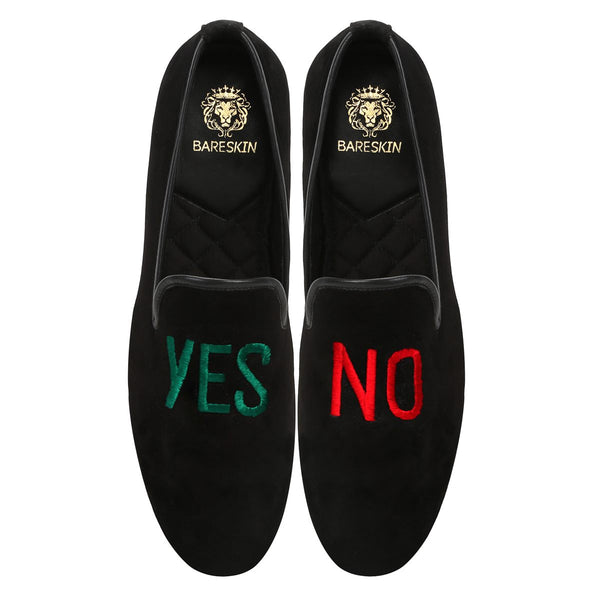 Yes-No Embroidery Black Velvet Men Slip Ons By Bareskin