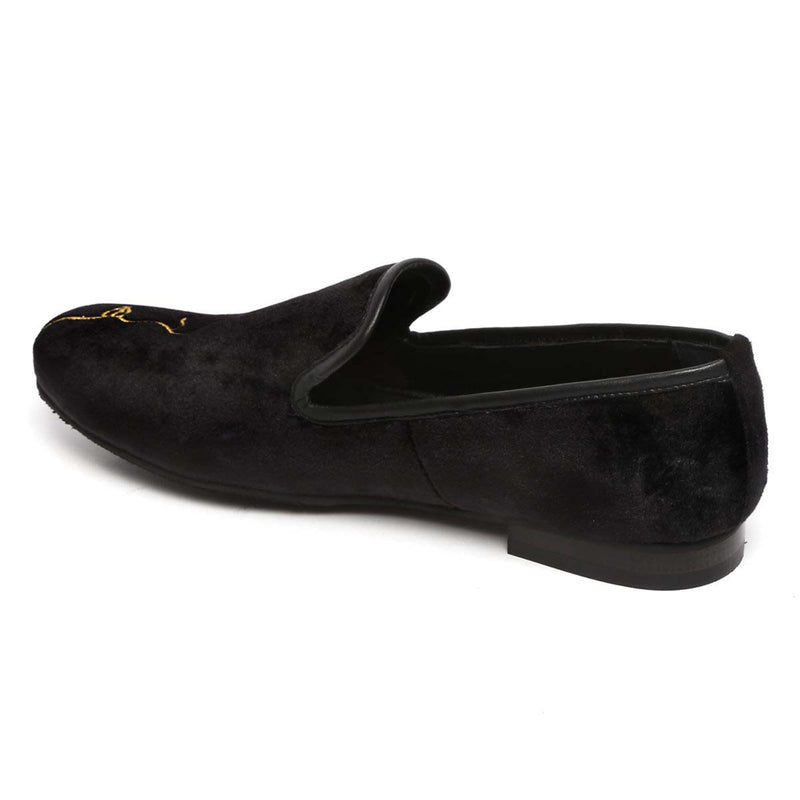 Side Face Embroidery Black Velvet Men Slip Ons By Bareskin
