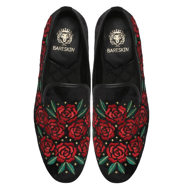Red-Green Floral Embroidery Golden Fruit Dots On Black Slip-On By Bareskin