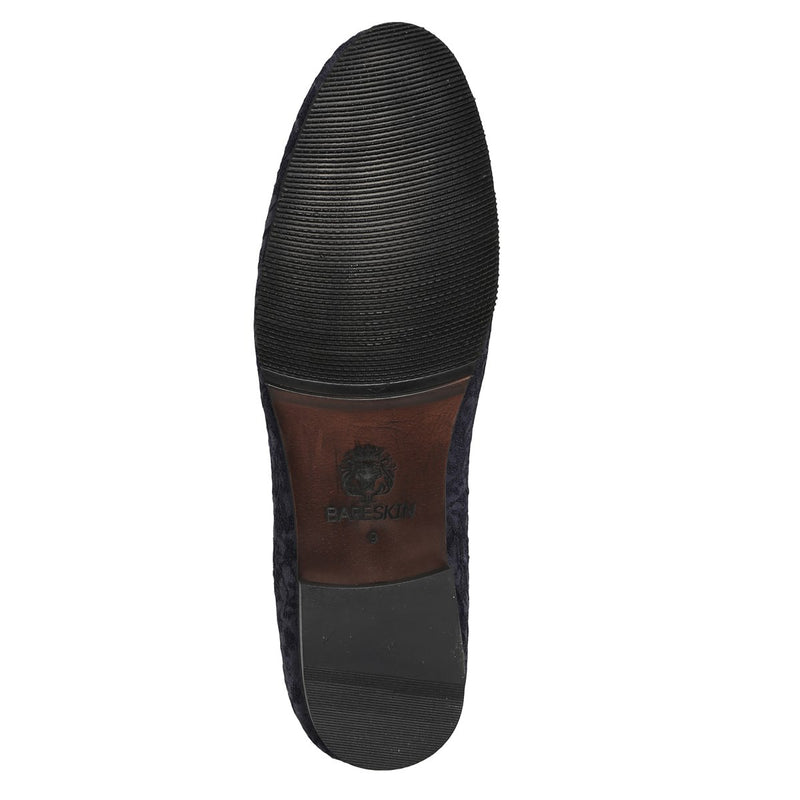Navy Royal Jacquard Floral Pattern Men Slip On By Bareskin