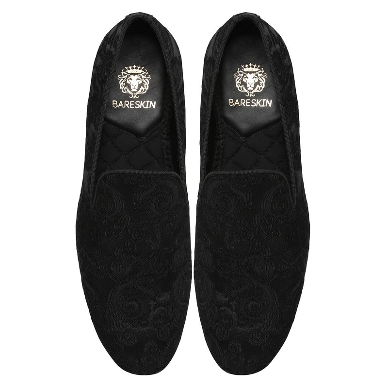 Black On Black Jacquard Details Men Slip On By Bareskin