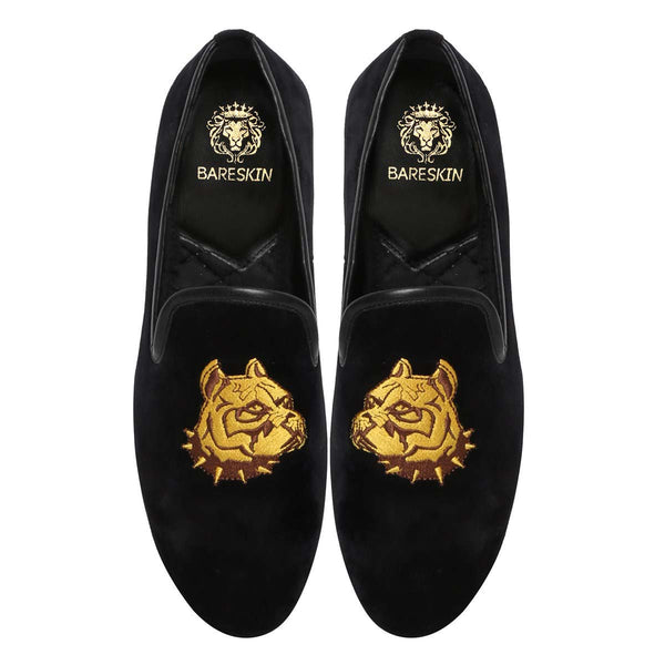 Bulldog Embroidered Black Velvet Men Slip-On By Bareskin