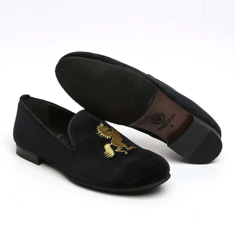 Golden Horse Black Velvet Slip-On Shoes By Bareskin