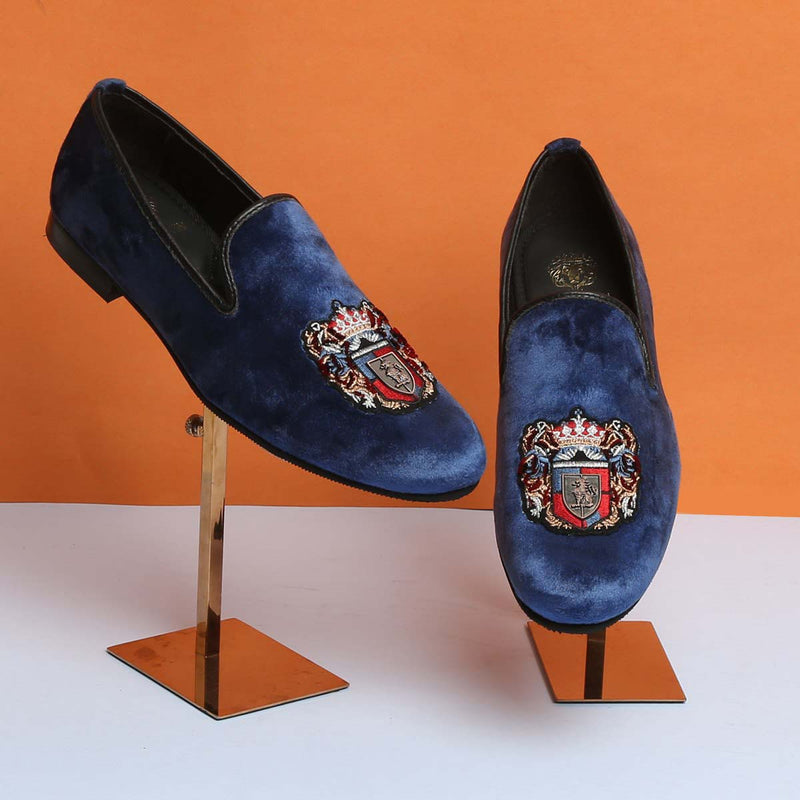 Royal Emblem Blue Velvet Slip-On By Bareskin