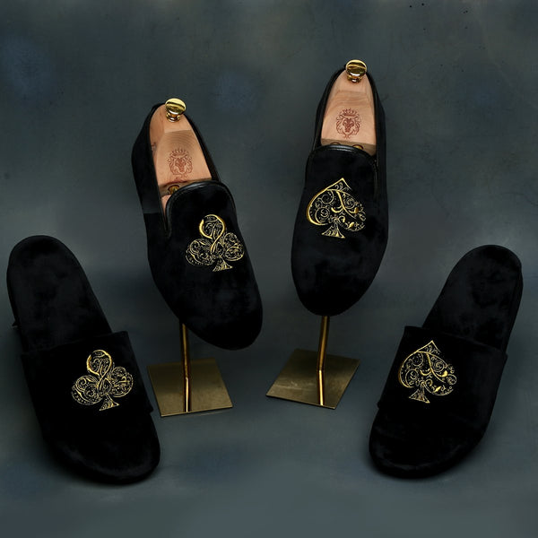 Black-Golden Poker Detailing Zardosi Velvet Slip-On Shoes By Bareskin