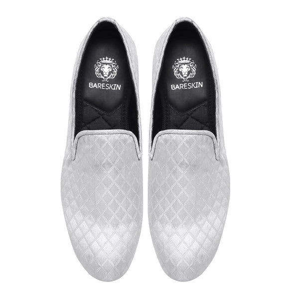 White Color Diamond Cut Pattern Slip-ons by BARESKIN