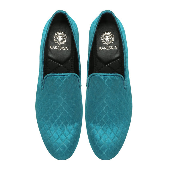 Sky Blue Color Diamond Cut Pattern Slip-ons by BARESKIN