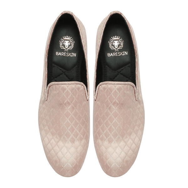 Rose Pink Color Diamond Cut Pattern Slip-ons by BARESKIN