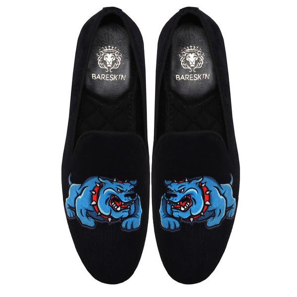 Blue 3D Bulldog Black Slip On By Bareskin