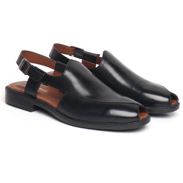 Black Genuine Leather Cross Design Light Weight Peshawari Sandals For Men By Brune