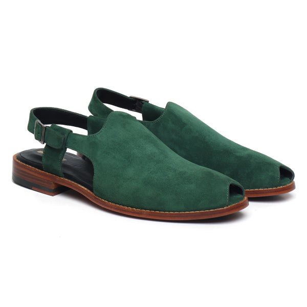 Green Suede Leather Cross Design Light Weight Peshawari Sandals For Men By Brune