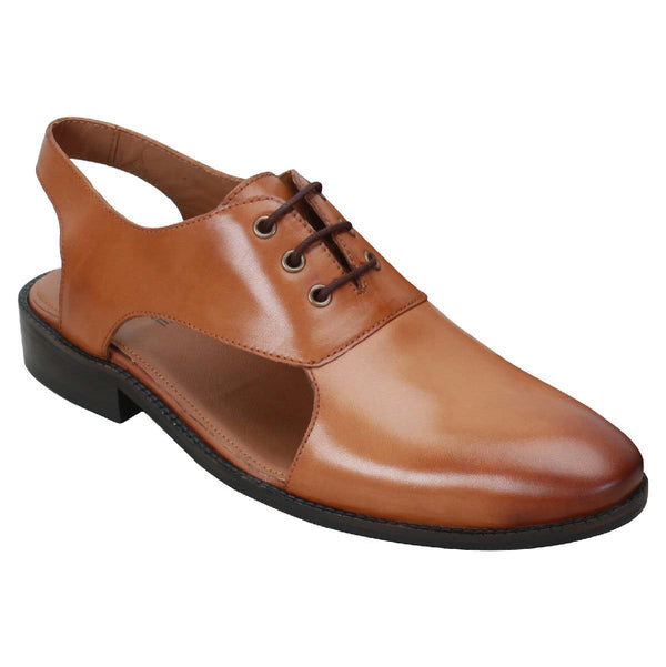 Hand Made Tan Genuine Leather Formal Lace-Up Sandals For Men By Brune