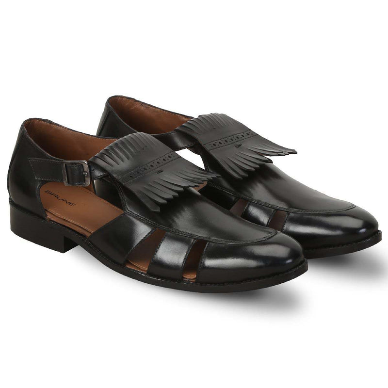 Brune Black Leather Formal Sandals With Fringes Design For Men