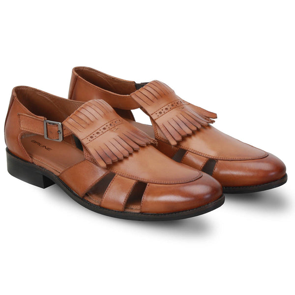 Tan Genuine Leather Fringes Side Buckle Sandals By Brune