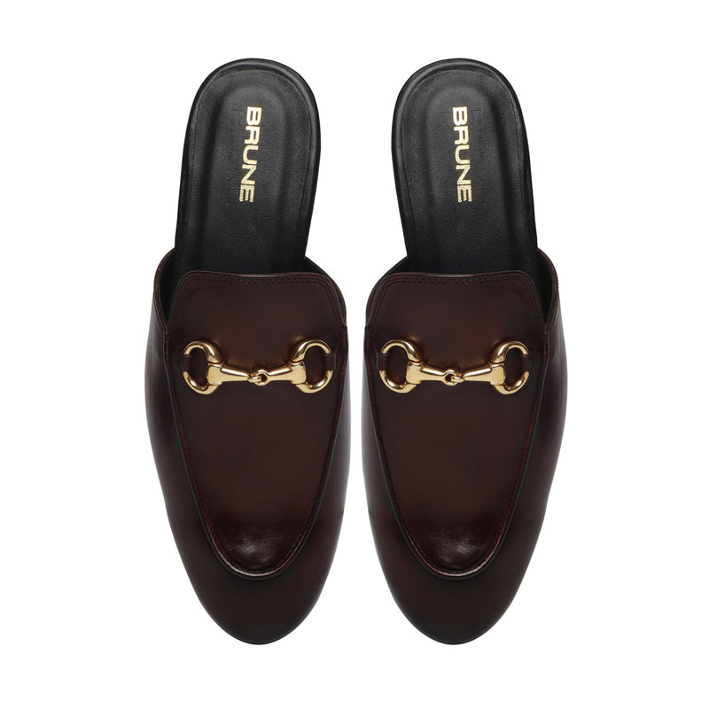 Dark Brown Leather Formal Horsebit Mules With Slipper Opening at The Back (Summer Special) By Brune & Bareskin