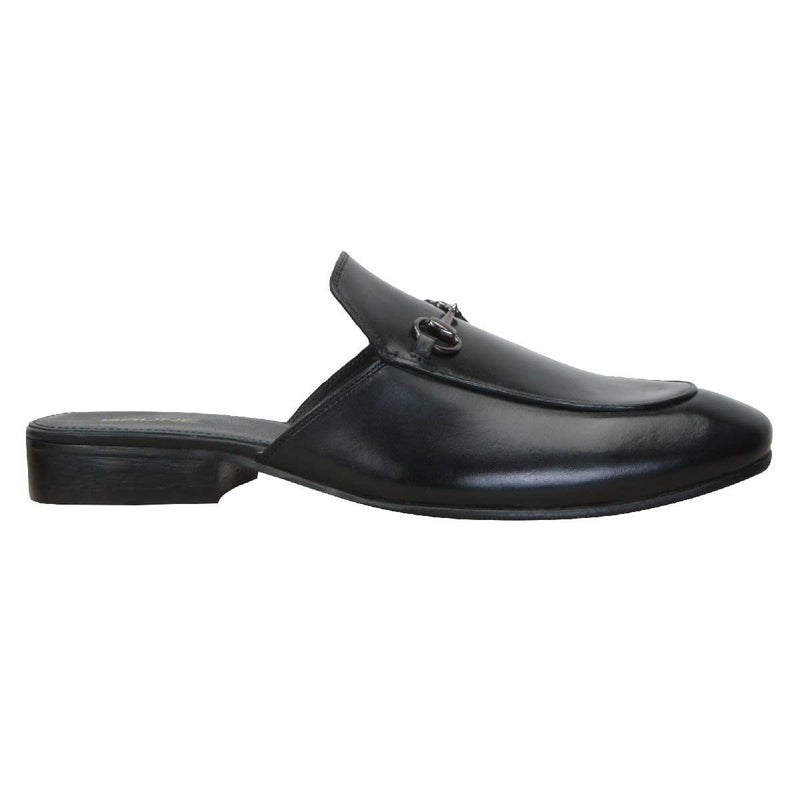 Black Leather Formal Shoe With Slipper Opening At The Back (Summer Special) By Brune