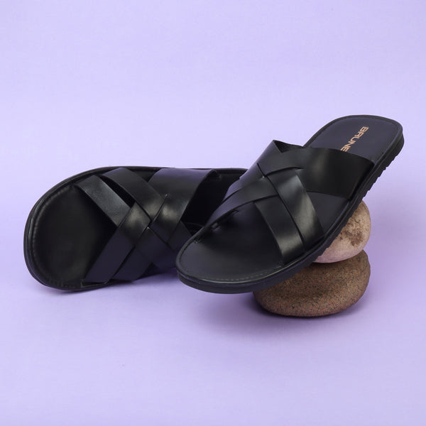 Black Criss-Cross Designed Genuine Leather Slippers By Brune