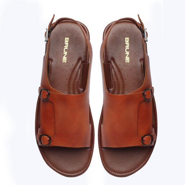 Tan Leather Double Monk Strap Men Sandals By Brune