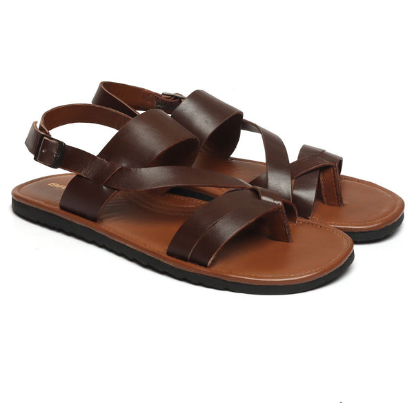 Brown Genuine Leather Strappy Sandals By Brune