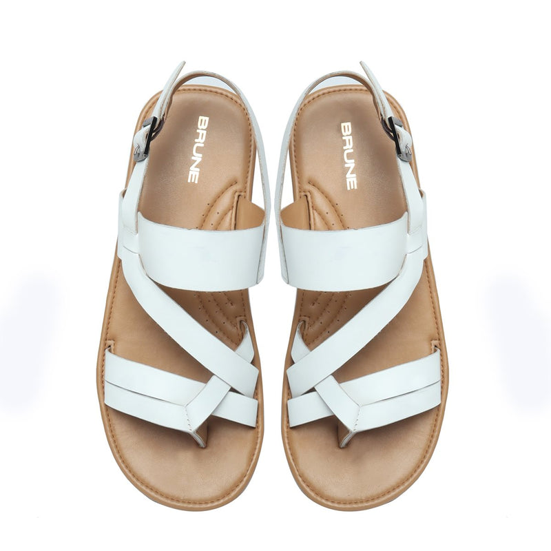 White Genuine Leather Sandals By Brune