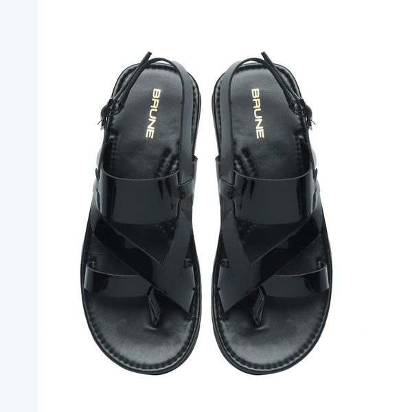 Black Genuine Leather Sandals By Brune