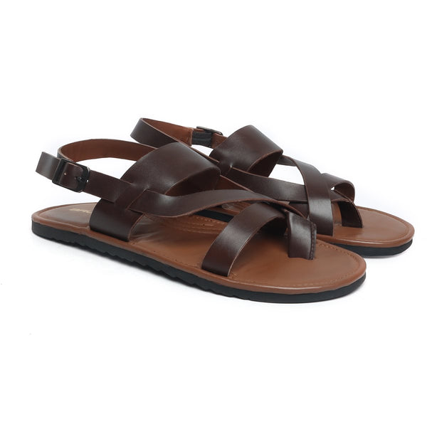 Brown Genuine Leather Sandals By Brune