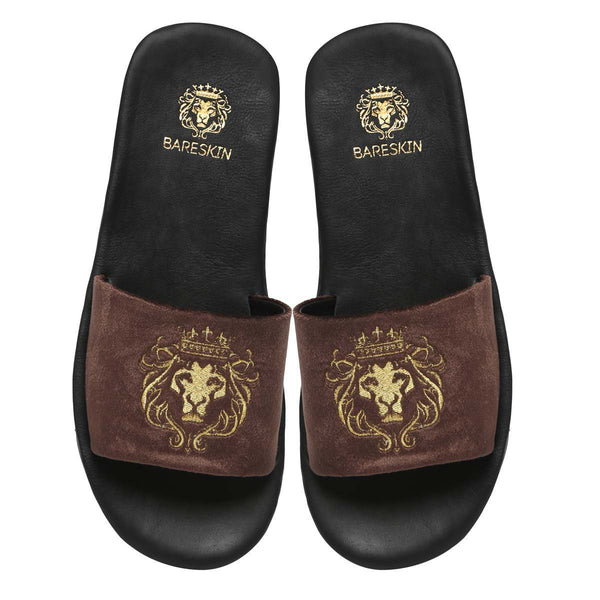 Bareskin Men Brown Velvet Leather Base Embroidered Lion Slide Slippers