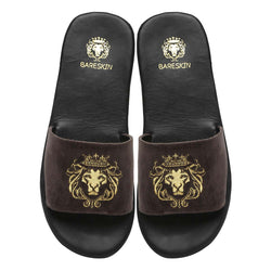 Bareskin Men Grey Velvet Leather Base Embroidered Lion Slide Slippers