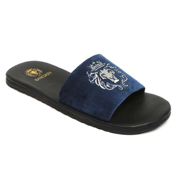 Bareskin Men Blue Velvet Leather Base Silver Embroidered Lion Slide Slippers