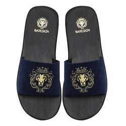 Navy Blue Italian Velvet Slippers By Bareskin