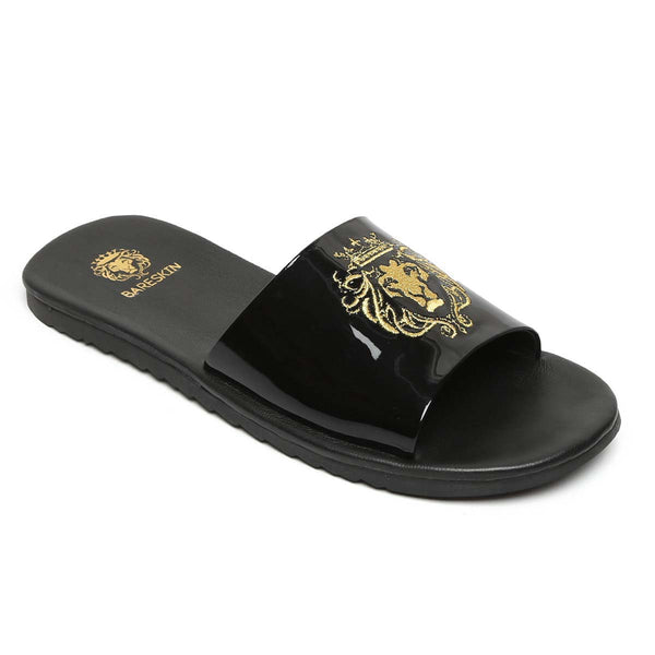 Black Patent Leather Embroidered Lion Slides By Bareskin