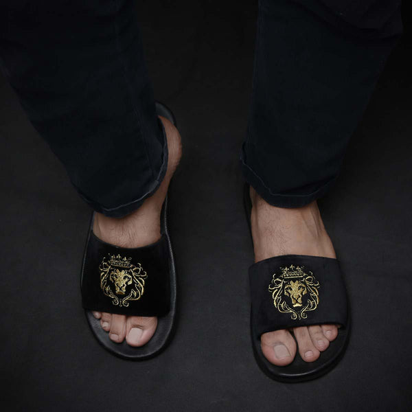 Black Velvet Leather Base Embroidered Lion Slide Slippers By Bareskin