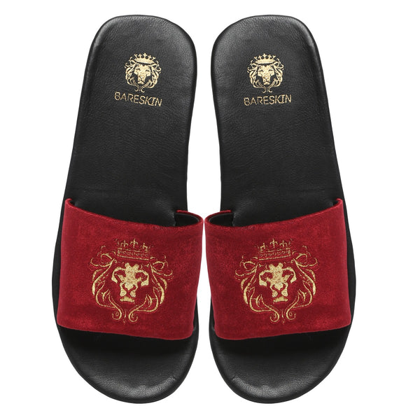Bareskin Men Red Velvet Leather Base Embroidered Lion Slide Slippers