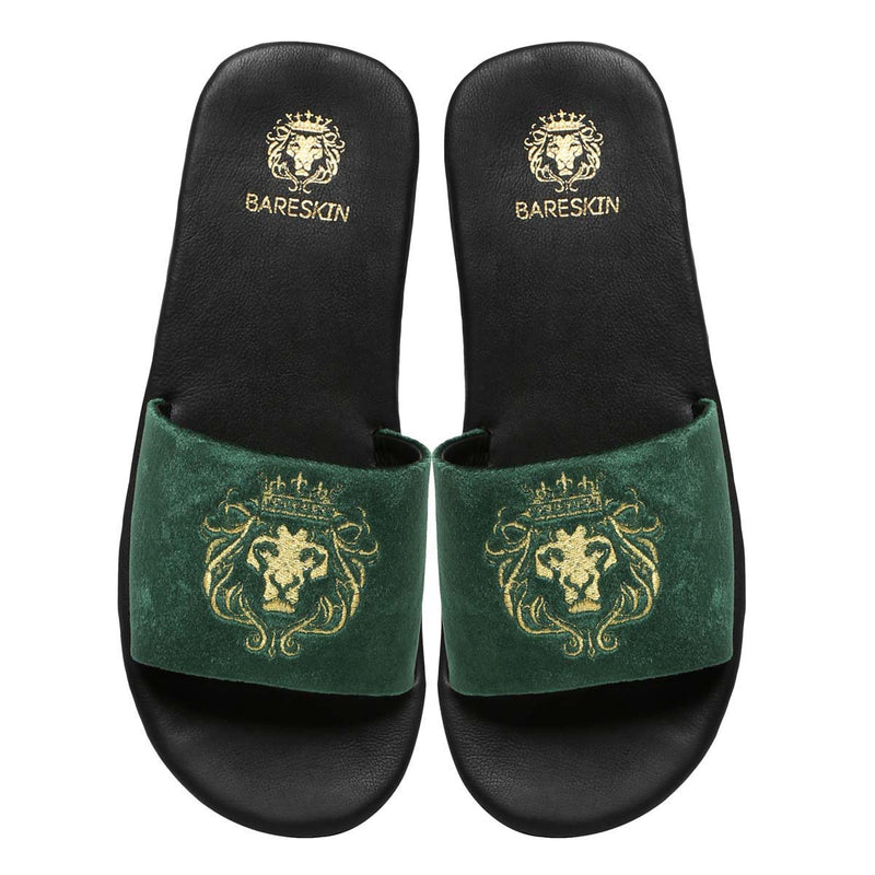 Bareskin Men Green Velvet Leather Base Embroidered Lion Slide Slippers