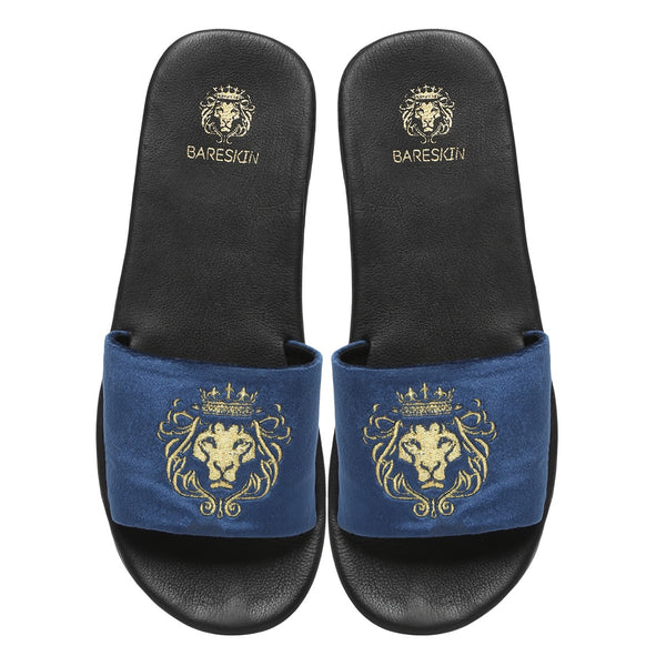 Blue Italian Velvet Slippers By Bareskin