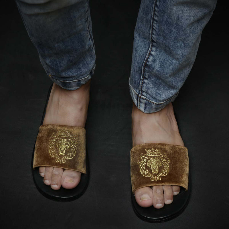 Bareskin Men Tan Velvet Leather Base Embroidered Lion Slide Slippers