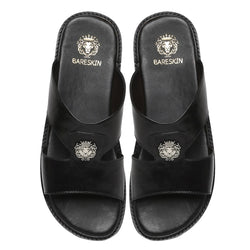 Black Genuine Leather Sandal/Slippers By Bareskin