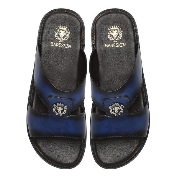 Blue Genuine Leather Sandal/Slippers By Bareskin