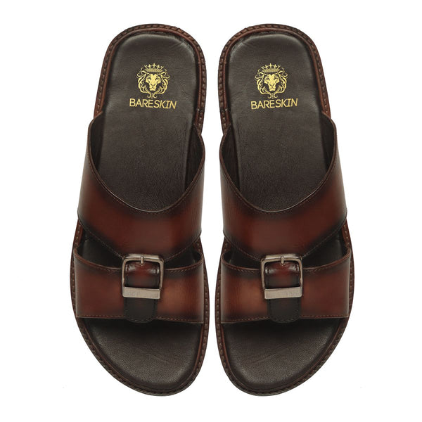Brown Genuine Leather Buckle Style Arabic Sandal By Bareskin