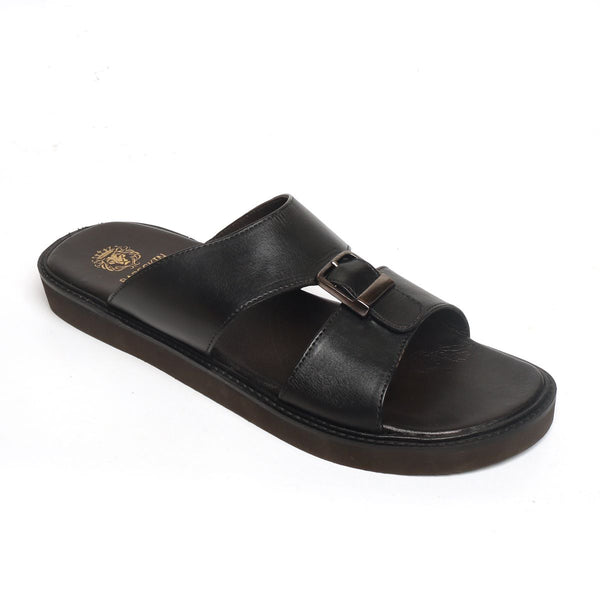 Black Genuine Leather Buckle Style Arabic Sandal By Bareskin