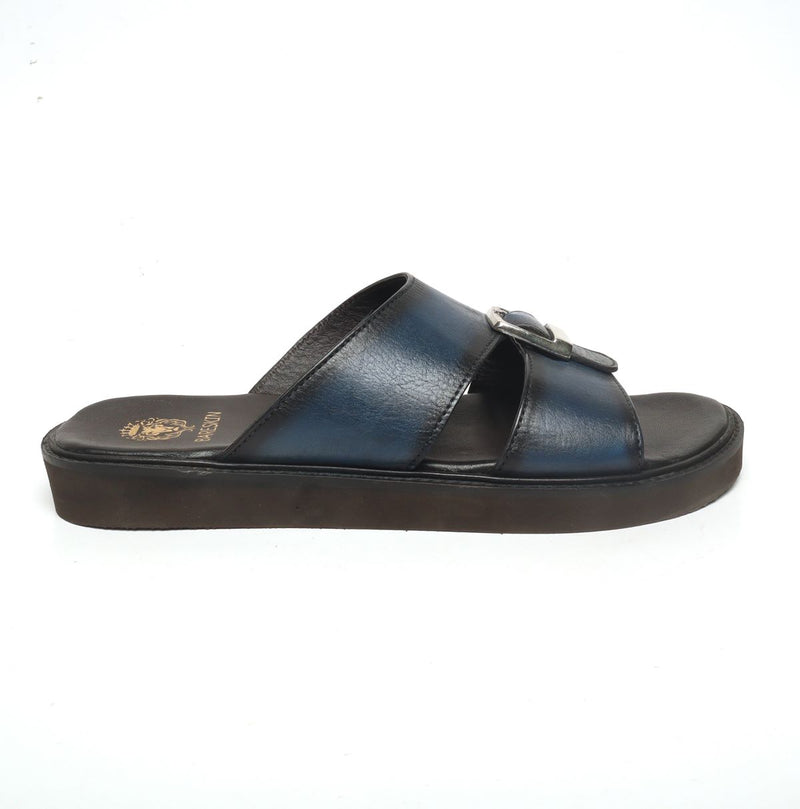 Blue Genuine Leather Buckle Style Arabic Sandal By Bareskin