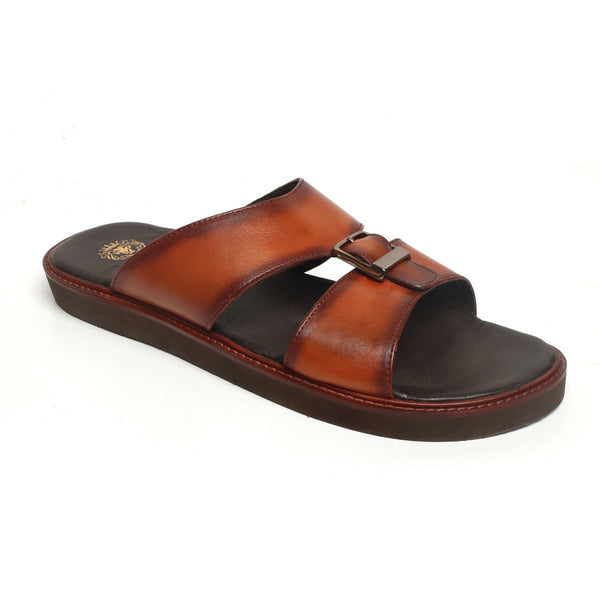 Tan Genuine Leather Buckle Style Arabic Sandal By Bareskin