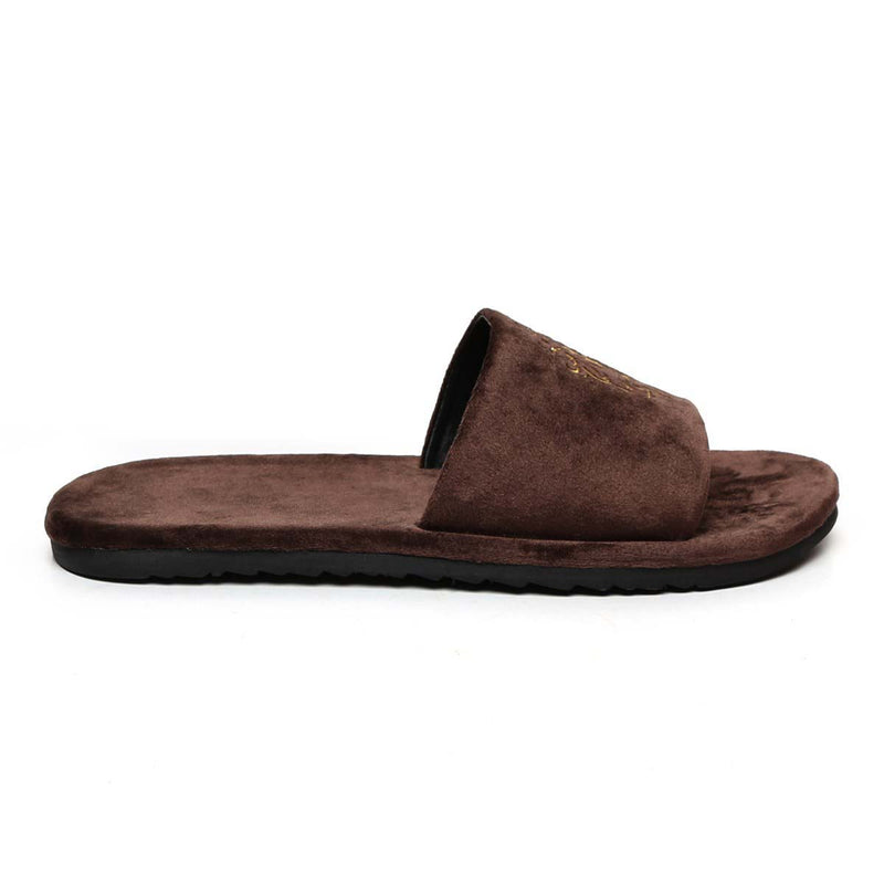 Brown Two Tone Full Velvet Lion Embroidery Slippers By Bareskin