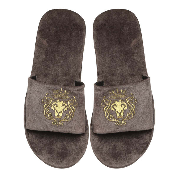 Grey Two Tone Full Velvet Lion Embroidery Slippers By Bareskin