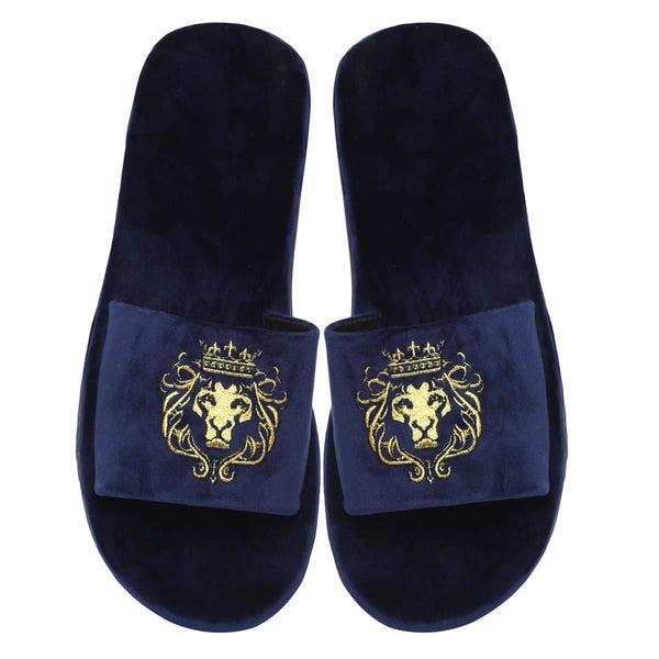 Navy Blue Two Tone Full Velvet Lion Embroidery Slippers By Bareskin