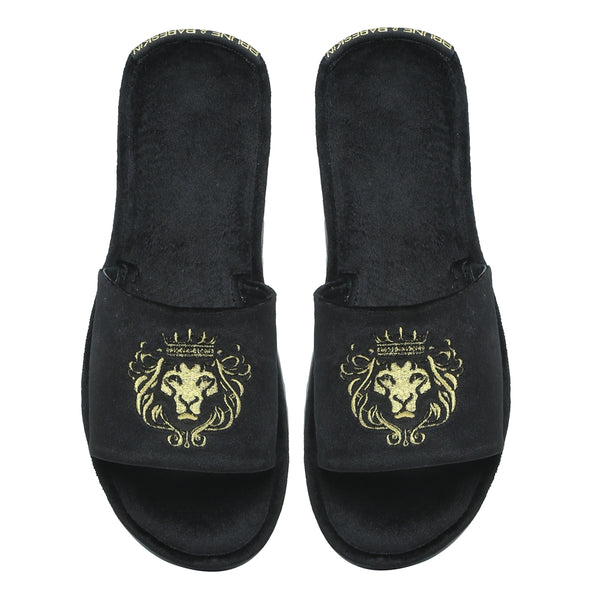 Black Italian Velvet Slippers By Bareskin